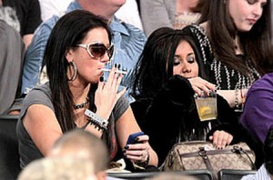 Snooki and JWoww Smoking Electric Cigs During A Basketball Game in LA
