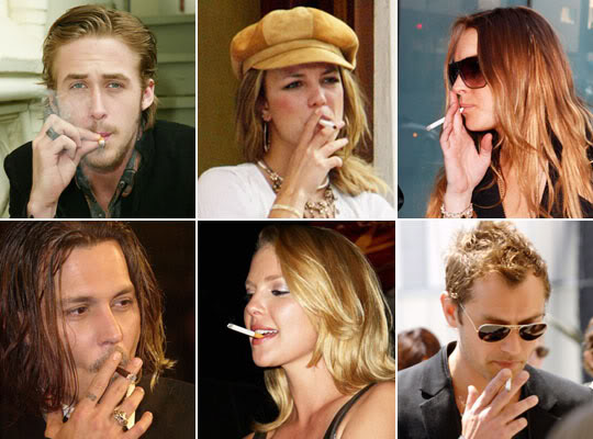 Britney Spears, Johnny Depp, Jude Law and Charlize Theron smoking electric cigs